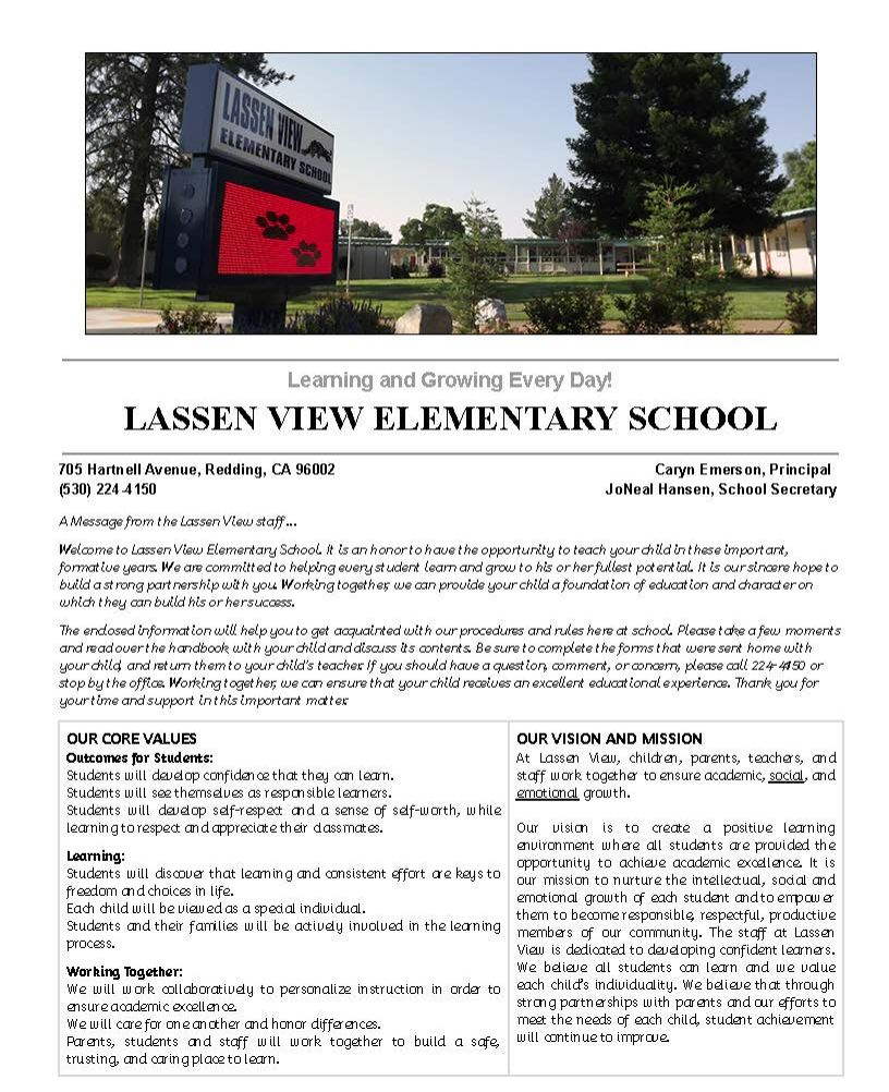 Lassen View Parent Student Handbook